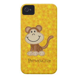 Cute Monkey Yellow Personalized BlackBerry Bold Case-Mate iPhone 4 Cases