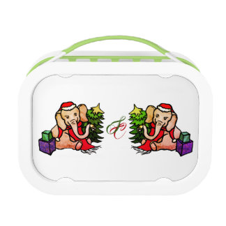 Cute Monogram Christmas Santa Cartoon Elephants Lunch Box