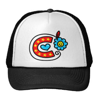 Cute Monogram Letter C Greeting Text Expression Trucker Hats