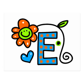 Cute Monogram Letter E Greeting Text Expression Postcard
