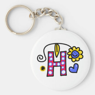 Cute Monogram Letter H Greeting Text Expression Basic Round Button Key Ring