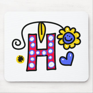 Cute Monogram Letter H Greeting Text Expression Mouse Pad