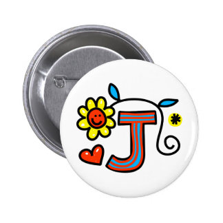 Cute Monogram Letter J Greeting Text Expression 6 Cm Round Badge