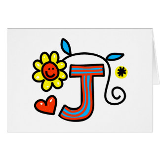Cute Monogram Letter J Greeting Text Expression Greeting Card