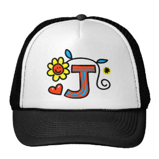 Cute Monogram Letter J Greeting Text Expression Hats