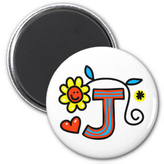 Cute Monogram Letter J Greeting Text Expression 6 Cm Round Magnet