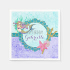 Cute Monogram Mermaid Teal & Purple Happy Birthday Disposable Serviette