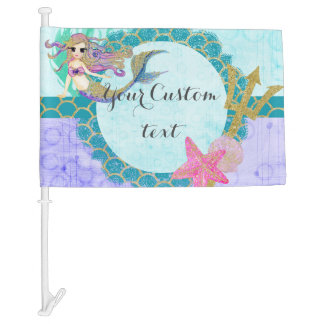 Cute Monogram Mermaid Teal & Purple Watercolor Car Flag
