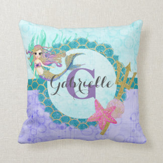 Cute Monogram Mermaid Teal & Purple Watercolor Cushion