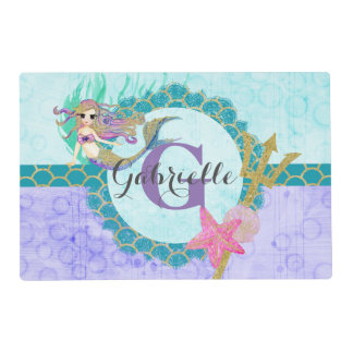 Cute Monogram Mermaid Teal & Purple Watercolor Laminated Placemat