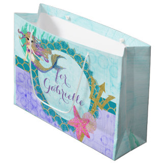 Cute Monogram Mermaid Teal & Purple Watercolor Large Gift Bag