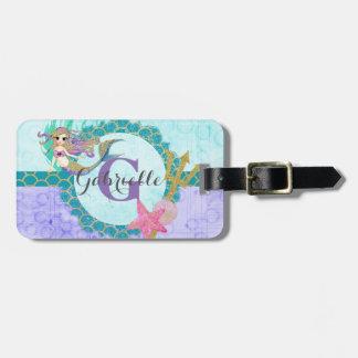 Cute Monogram Mermaid Teal & Purple Watercolor Luggage Tag