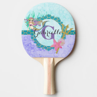 Cute Monogram Mermaid Teal & Purple Watercolor Ping Pong Paddle