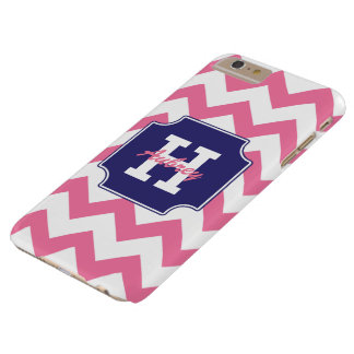 Cute Monogram Personalized Blue Pink Chevron Barely There iPhone 6 Plus Case