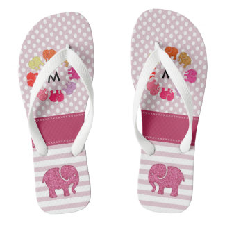 Cute monogram trendy girly elephants stripes/dots thongs