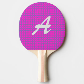 Cute Monogrammed Hot Pink Trendy Stylish Pattern Ping Pong Paddle