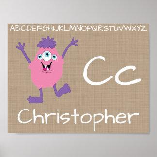 Cute Monster Alphabet Letters Nursery Decor