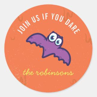 Cute Monster Bat Halloween Personalised Sticker