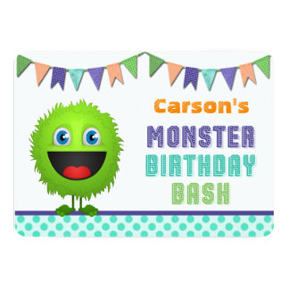 Cute Monster Birthday Bash 13 Cm X 18 Cm Invitation Card