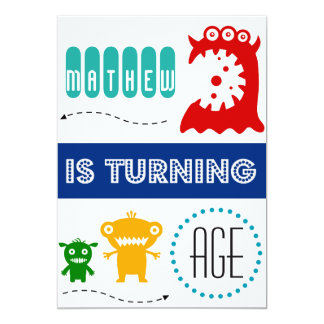 Cute monster birthday invitation, custom age name card