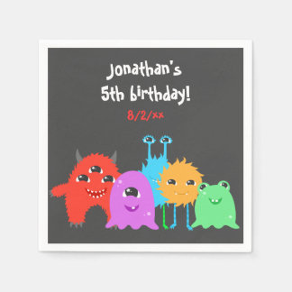 Cute Monster Birthday Paper Napkin