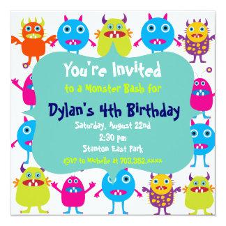 "Cute Monster Birthday Party Invitation Templates 5.25"" Square Invitation Card"