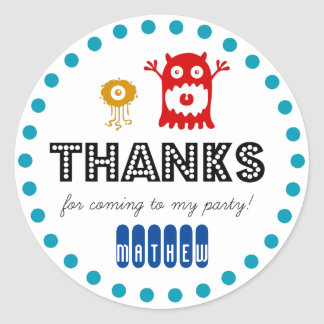 Cute monster birthday party sticker, thank you round sticker