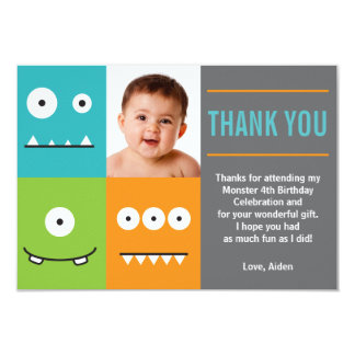 Cute Monster Faces Thank You 9 Cm X 13 Cm Invitation Card