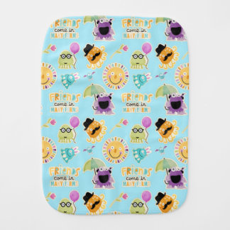 Cute Monster Friends Baby Burp Cloths