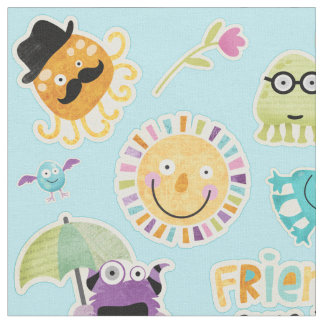 Cute Monster Friends Fabric