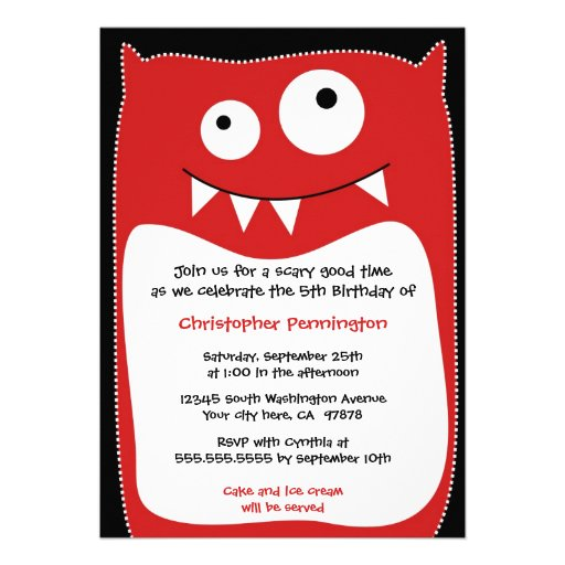Cute monster pillow boys birthday party invitation