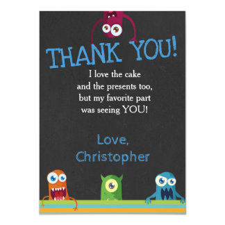 CUTE MONSTER THANK YOU CARD