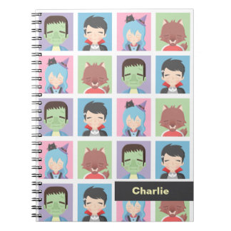 Cute Monster Vampire Witch Werewolf Kids Notebook
