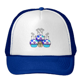 Cute Monster With Blue & Purple Polkadot Cupcakes Trucker Hats