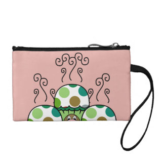 Cute Monster With Green & Brown Polkadot Cupcakes Coin Purse