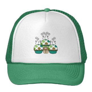 Cute Monster With Green & Brown Polkadot Cupcakes Trucker Hat