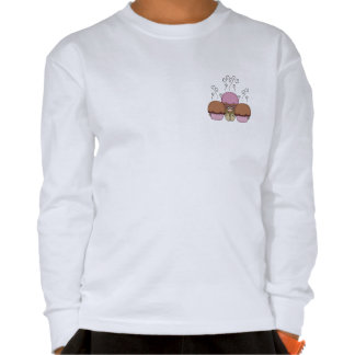 Cute Monster With Orange And Red Frosted Cupcakes T-shirts