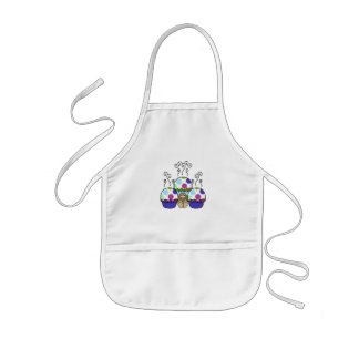 Cute Monster With Pink And Blue Polkadot Cupcakes Aprons