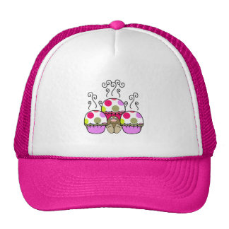 Cute Monster With Pink & Purple Polkadot Cupcakes Hats