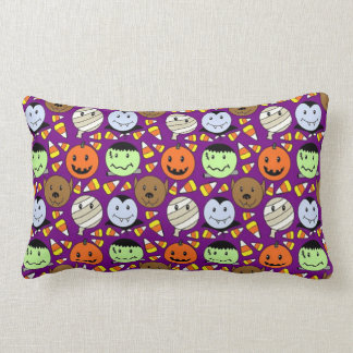 Cute Monsters And Candy Corn Lumbar Cushion