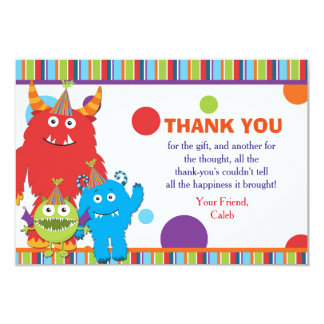 Cute Monsters Birthday Party Thank You Card Invite