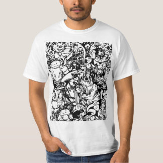 Cute Monsters & Voodoo Dolls in Black & White T-Shirt