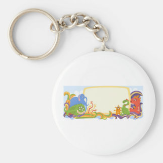 Cute monsters with banner basic round button key ring