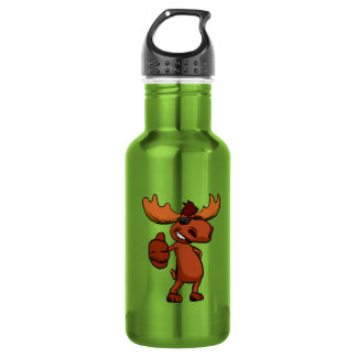 Cute moose cartoon waving. 532 ml water bottle