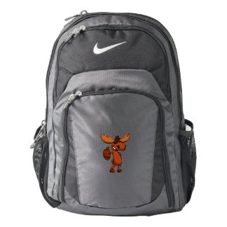 Cute moose cartoon waving. backpack
