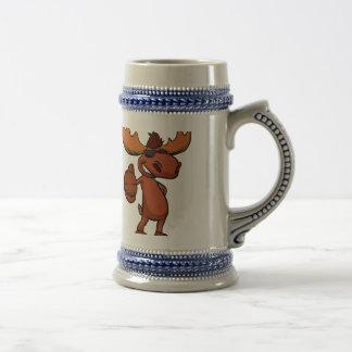 Cute moose cartoon waving. beer stein