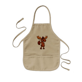 Cute moose cartoon waving. kids apron