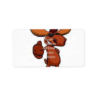 Cute moose cartoon waving. label