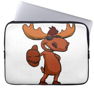 Cute moose cartoon waving. laptop sleeve