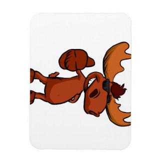 Cute moose cartoon waving. magnet
